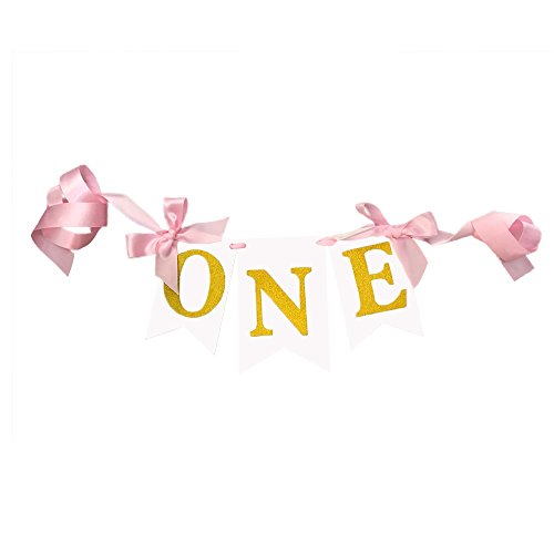 Pink Glitter Gold ONE Banner Baby Highchair Bunting Banner First Birthday Party Decoration For Girl/Boy (Pink)