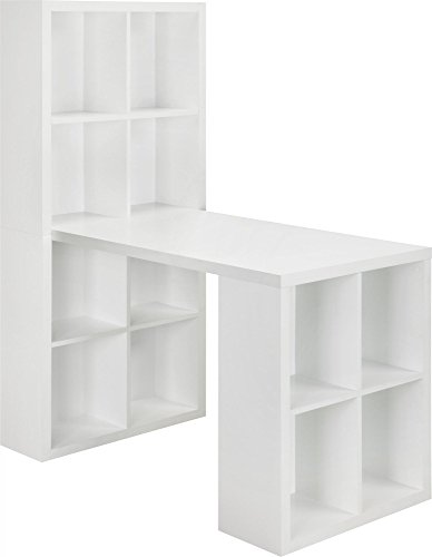 White Storage Desk (Ameriwood Home London Hobby Desk, White)
