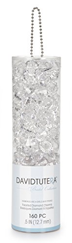 David Tutera Faceted Acrylic Diamond Shape with Charm Hole - Clear - 1/2 inches - 160 Pieces