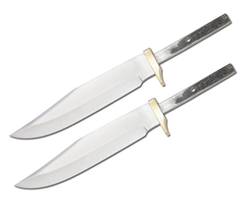 (Set of 2) CUSTOM BLANK Blade Knife Small Bowie Hunter Making with Brass Guard Bolster BL001