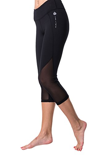 DIANA Classic Black Cropped Leggings w Mesh Cutout, Crops, Capri Pants for Sports, Yoga Spin Workout Fitness Gym Running Walking Training