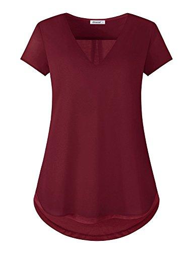 Elemevol V Neck T Shirts Women,Ladies Semi Sheer Chiffon Patchwork Short Sleeve Office Work Blouse Tops Wine L - Ladies Semi Sheer T-shirt