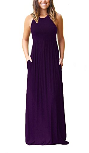 Women's Sleeveless Racerback Loose Plain Maxi Dresses Casual Long Pockets Dress Purple XL (Purple Black Dress)