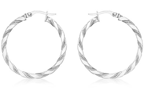 Carissima 9 ct Or blanc 30 mm Twist Creole Earrings