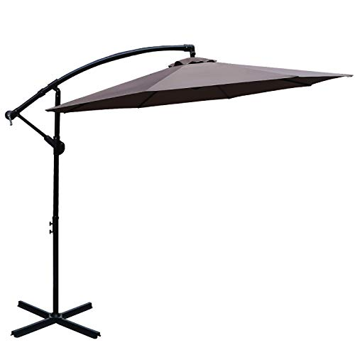 ABCCANOPY Patio Umbrellas Cantilever Umbrella Offset Hanging Umbrellas 10 FT Outdoor Market Umbrella with Crank & Cross Base for Garden, Deck, Backyard, Pool and Beach, 12+ Colors,(Dark Gray)