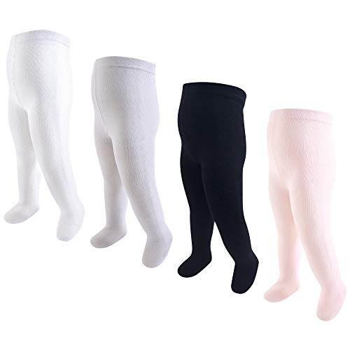 Hudson Baby Baby Girls' Cotton Tights, 4 Pack, Light Pink/Black, 9-18 Months ()