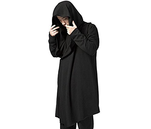 YOU&JIE&PING Men's Black Long Hooded Cardigan Large Cape Cloak Coat (US 3XL/Asian 5XL)]()