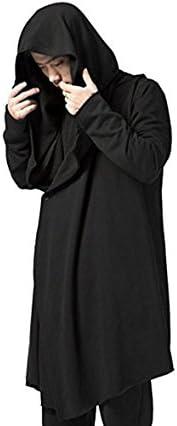 YOU&JIE&PING Men's Black Long Hooded Cardigan Large Cape Cloak Coat