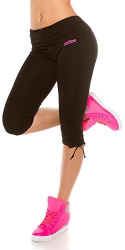 In-Stylefashion Trendy Workout Capri Hosen, Farbe: Schwarz, Gr: M