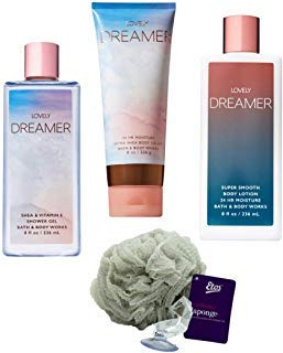 Lovely Dreamer Set (4 Piece) - Shower Gel 8 oz, Lotion 8 oz, Body Cream 8 oz, and Loofah; Signature Collection Gift