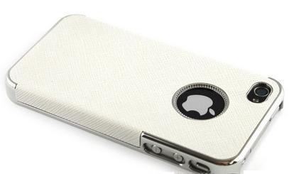 itronik® LEDER CASE für APPLE IPHONE 4 4G 4S LUXUS HARDCASE DELUXE TASCHE ETUI HÜLLE SCHUTZHÜLLE COVER BUMPER WEISS WHITE