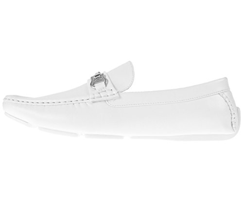 Loafer Mens Buckle Saffy White Smooth Shoe Amali with Driving Style Silver Textured qZtwWWdU