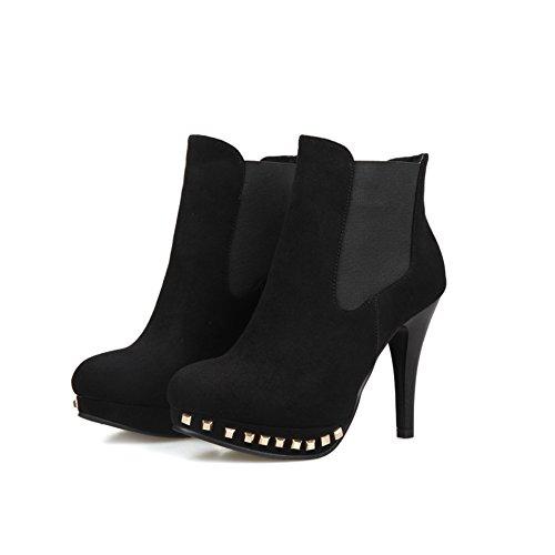 A&N Girls Stiletto Platform Rivet Imitated Leather Boots Black yXwXm