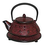 Japanese Tetsubin Cast Iron 40 oz Aztec Teapot