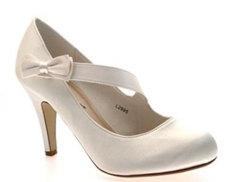 WOMENS SATIN BRIDAL WEDDING COURT PLATFORM HEEL SHOES IVORY WHITE LADIES 3 - 8 Ivory Crossover Bow