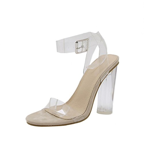 (DENER Women Ladies Summer High Heels Sandals,Clear Transparent Wedge Arch Support Ankle Straps Comfortable Elegant Shoes (Clear, 39))