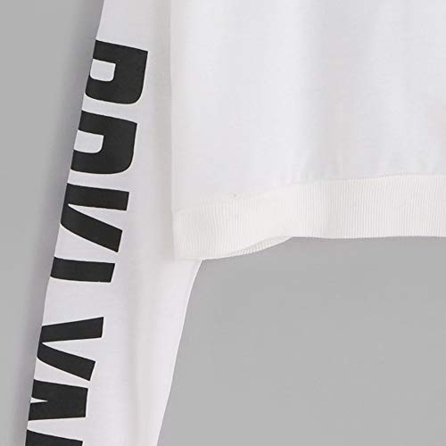 Blouse Hoodie Long Letters Womens Morwind Sweatshirt White Sleeve Pullover Tops nFH6w8Tx
