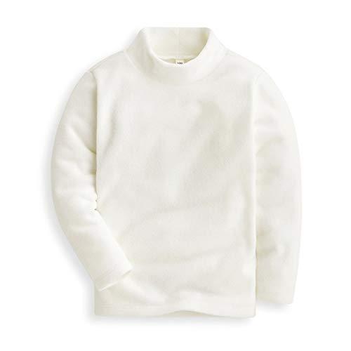 Mud Kingdom Girls Tops Fleece Turtleneck Base Shirts Plain 3T White