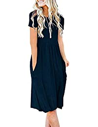 Women's Short Sleeve Pockets Empire Waist Pleated Loose Swing Casual Flare Dress