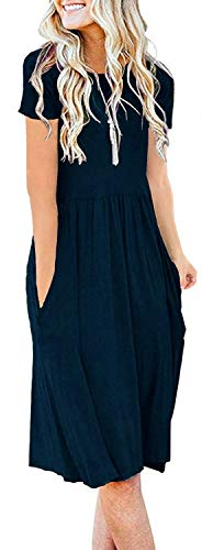 - AUSELILY Women's Short Sleeve Pockets Empire Waist Pleated Loose Swing Casual Flare Dress (XL, Navy Blue)