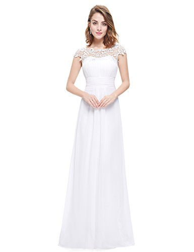 Ever-Pretty Womens Cap Sleeve Lace Neckline Ruched Bust Evening Gown 14 US White