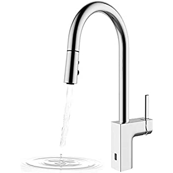 Kitchen faucets hands free two sensor pulldown touchless - Touchless bathroom faucet brushed nickel ...