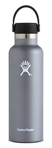Hydro Flask 21 oz Double Wall Vacuum Insulated Stainless Steel Leak Proof Sports Water Bottle, Standard Mouth with BPA Free Flex Cap, Graphite