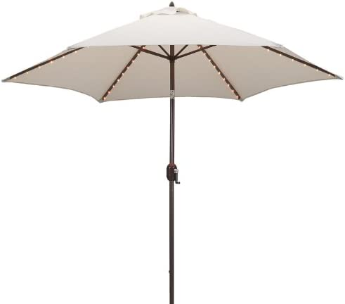 Tropishade Tropilight LED Lighted 9 ft Bronze Aluminum Market Umbrella