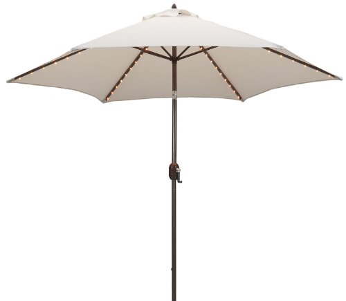 Tropishade Tropilight LED Lighted 9 ft Bronze Aluminum Market Umbrella with Antique White Polyester Cover