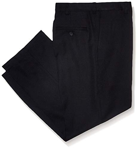 Haggar Men's Cool 18 PRO Classic Fit Flat Front Expandable Waist Pant, black, 42Wx32L