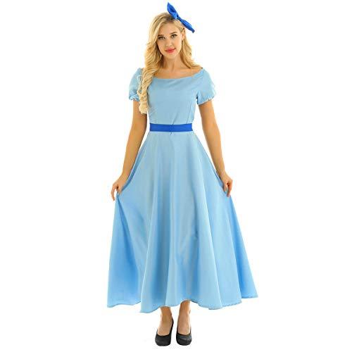 iEFiEL Women Princess Dress Light Blue Maxi Dresses Halloween Party Cosplay Wendy Dress Costume Light Blue Medium]()