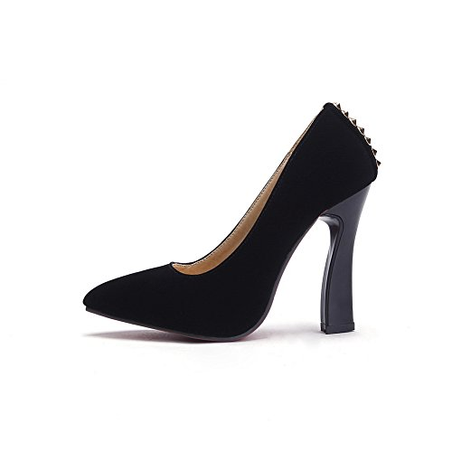 BalaMasa Ladies Pointed-Toe High-Heels Slip-On Frosted Pumps-Shoes Black XiEZZYfFY