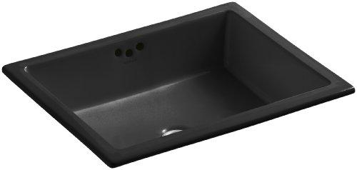 KOHLER K-2330-G-7 Kathryn Undercounter Bathroom Sink with Glazed Underside, Black Black