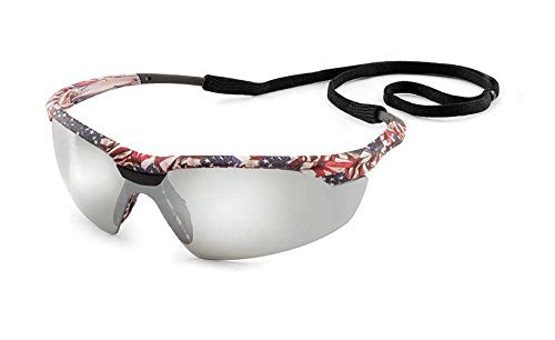 Gateway Safety 28US8M Conqueror Wraparound Eye Safety Glasses, Silver Mirror Lens, Old Glory Camo Frame ()