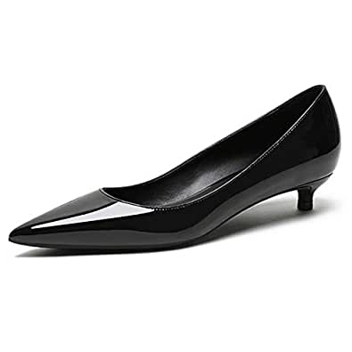Eldof Women's Low Heel Pumps Pointed Toe Kitten Heels Slip on Comfort Pumps 1.4 Inches for Dress Party Office Black US 6