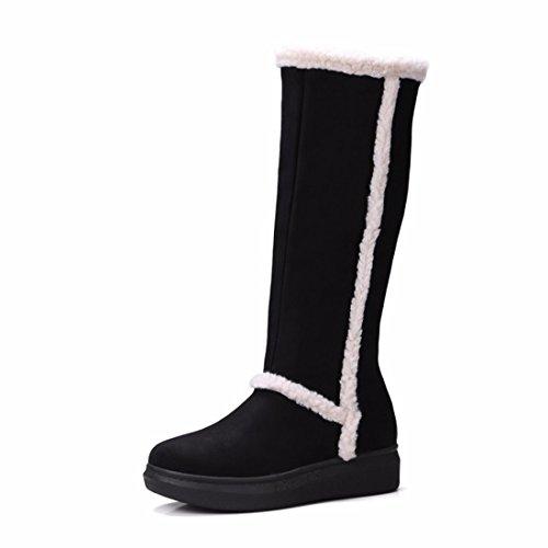 Suede europeos y americanos, botas de nieve inferior grueso zapatos de mujer de gran tamaño Black (Terry)