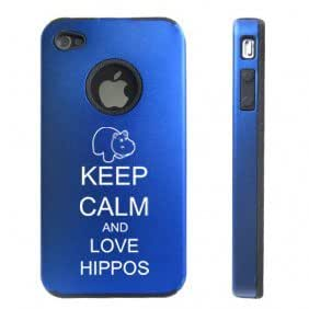 Apple iPhone 4 4S Blue D6240 Aluminum & Silicone Case Cover Keep Calm and Love Hippos