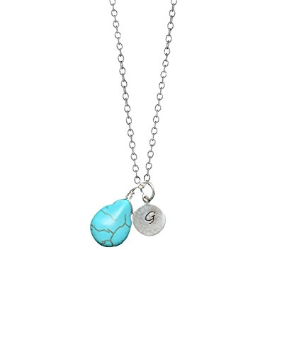 (Turquoise Teardrop and Hand Stamped Personalized Initial Disc Pendant Sterling Silver Necklace 16