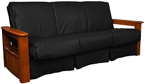 Chicago Storage Arm Style Perfect Sit & Sleep Pocketed Coil Inner Spring Pillow Top Sofa Sleeper Bed, Full-size, Walnut Arm Finish, Leather Look Black Upholstery Leather Walnut Bed