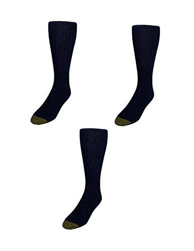 Gold Toe Men's Edinburgh Merino Wool AquaFX Dress Socks (Pack of 3), Black