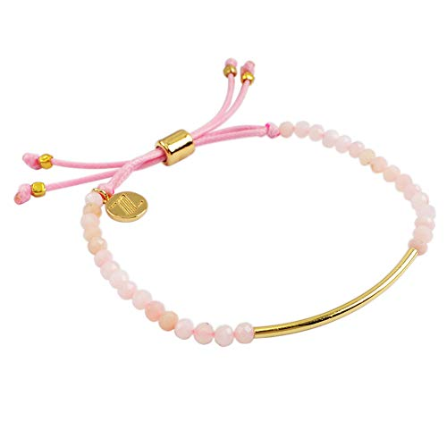 - ZENGORI 1 Pcs 3mm Faceted Natural Pink Opal Bead Bracelet Adjustable Handmade Jewelry ZBG0071