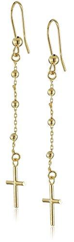 14k-Yellow-Gold-Italian-Cross-Dangle-Earrings