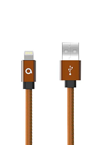 Alpha Leather Cable Mobile Accessory Compatible with iPhone Xs/iPhone XR/iPhone 6 / 6S / 6S Plus / 5 / 5S / 5C / iPhone SE, iPhone X / 8/8 Plus / 7/7 Plus, iPad Air/IP