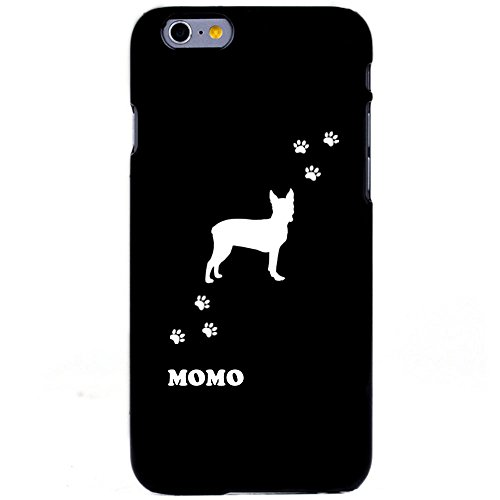 Personalized Monogrammed iPhone 6 (4.7) Polycarbonate Hard Case-Matte Black,Boston terrier, Print with (Boston Monogram)