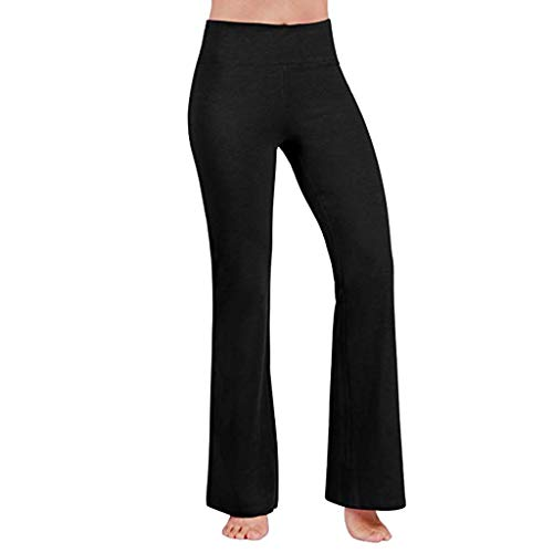 (Dressin Yoga Pants for Women, 4 Way Stretch Tummy Control Workout Running Pants, Long Bootleg Flare Pants Trousers Black)