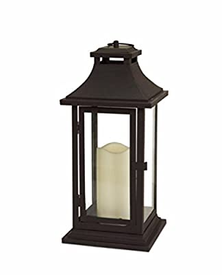 """Pack of 2 Decorative Brown Battery Operated Lighted LED Flameless Pillar Candle Lanterns 14.75"""""""