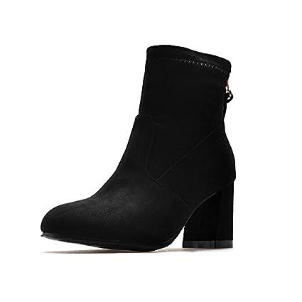 ZHZNVX HSXZ Zapatos de Mujer de Cuero de Nubuck Botas Botas de Moda Otoño Invierno Chunky