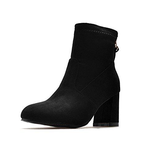 Mid Partie CN45 ZHZNVX Hiver HSXZ Boots Bottes 5 Femmes Black US11 Chaussures Boots Automne en pour Talon 5 Bottines Bottes Nubuck Cuir pour Chaussures UK9 EU43 Robe Mode Calf rTfqdx0wf1