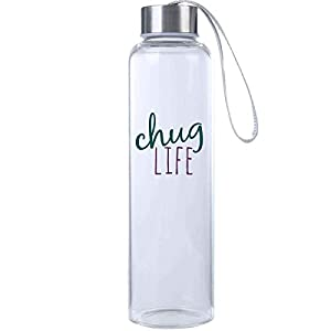 Mad2Order Chug Life Funny Workout Glass Hydro Water Bottle Clear 20 oz