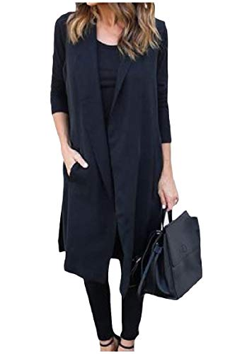 Down Waistcoat Sleeveless Womens Coat Black Turn Collar Open Jacket Clothes Trench Front Mogogo ExUq4TE